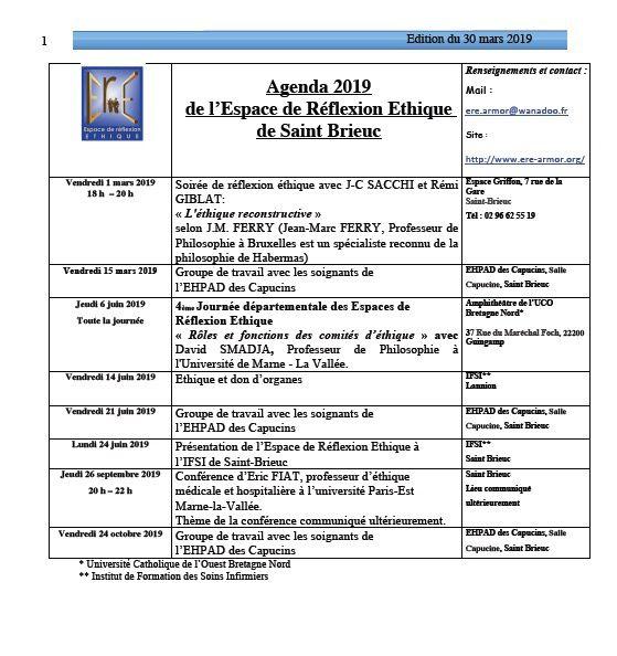 Agenda 2019 de l'Espace de Réflexion Ethique de Saint Brieuc: en voici l'édition provisoire