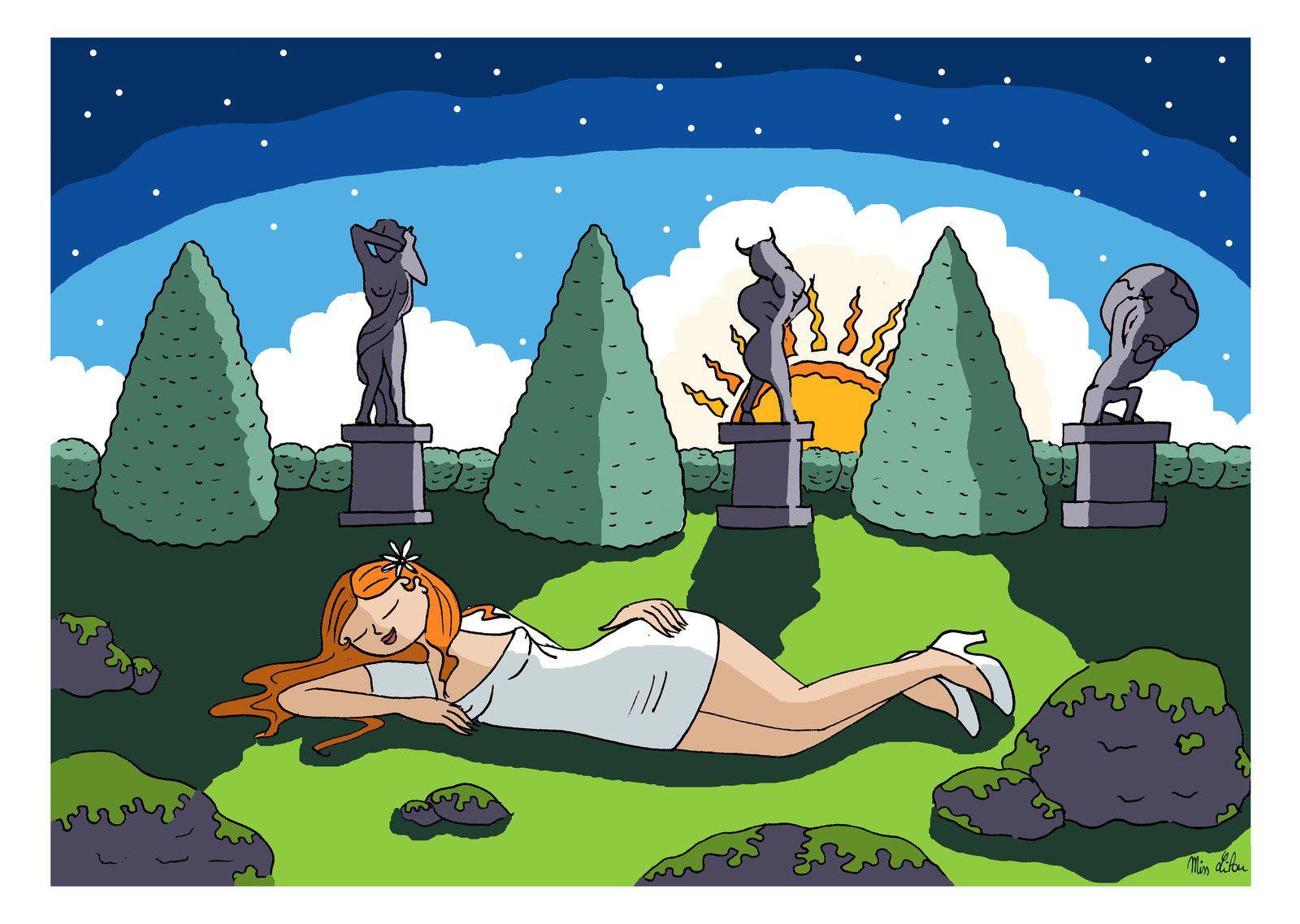 """Je vous montre mon travail en cours... Dessin pour l'association Olympio.  """"Lilou endormie au pied d'un parterre de statuaires. On raconte que Lilou a rêvé avoir vu certaines statues évoquant de grandes figures de la mythologie antique..."""""""