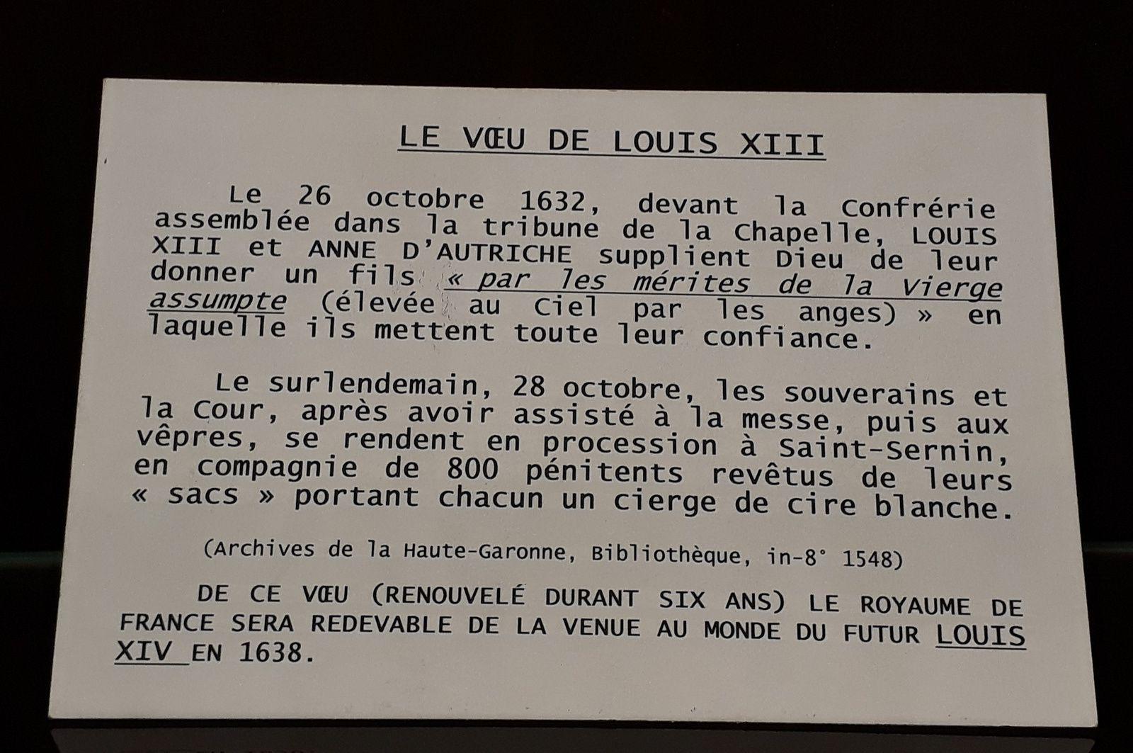 Voeux du Roi Louis XIII, premier Roi de France membre de la confrérie des Pénitents bleus.