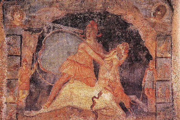 Mithra et le taureau, fresque de Marino.- Source : Wikipedia