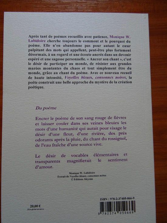 Voyelles bleues, consonnes noires – de Monique W. Labidoire – Recension de Michel Bénard