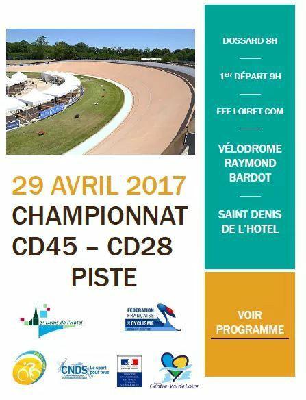 Championnat bi-déparemental (28-45) sur piste le 29 avril à St Denis de l'Hôtel (45)