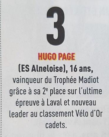 Challenge Vélo magazine cadets : Hugo Page (ES Auneau) en tête