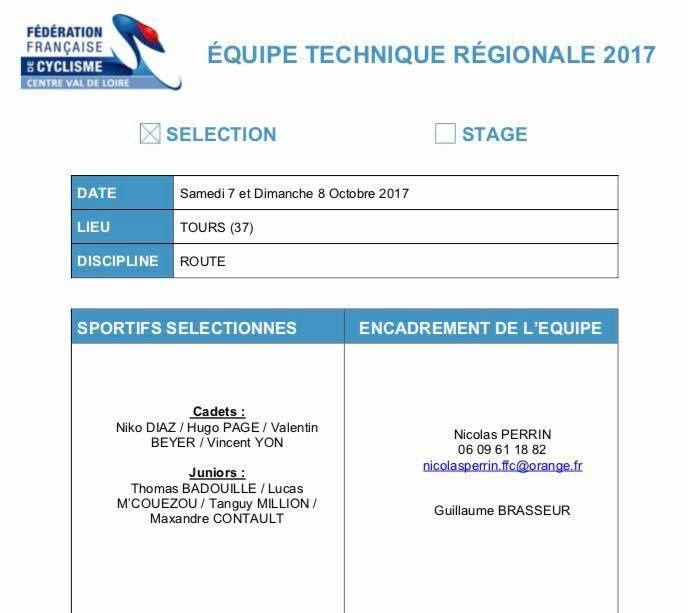 KM Paris Tours : Hugo Page (ES Auneau) et Thomas Badouille (ES Auneau) en sélection régionale