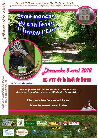 Affiche de la course VTT UFOLEP en forêt de Dreux le 8 avril 2018
