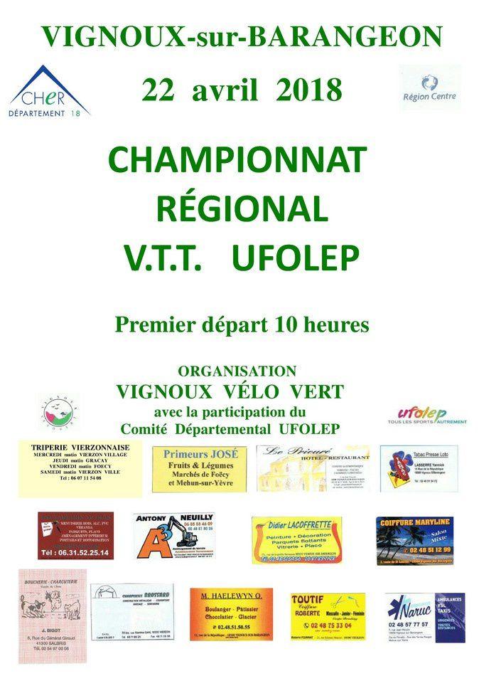 Le dossier complet du championnat régional UFOLEP de VTT du 22 avril 2018 à Vignoux sur Barangeon (18)