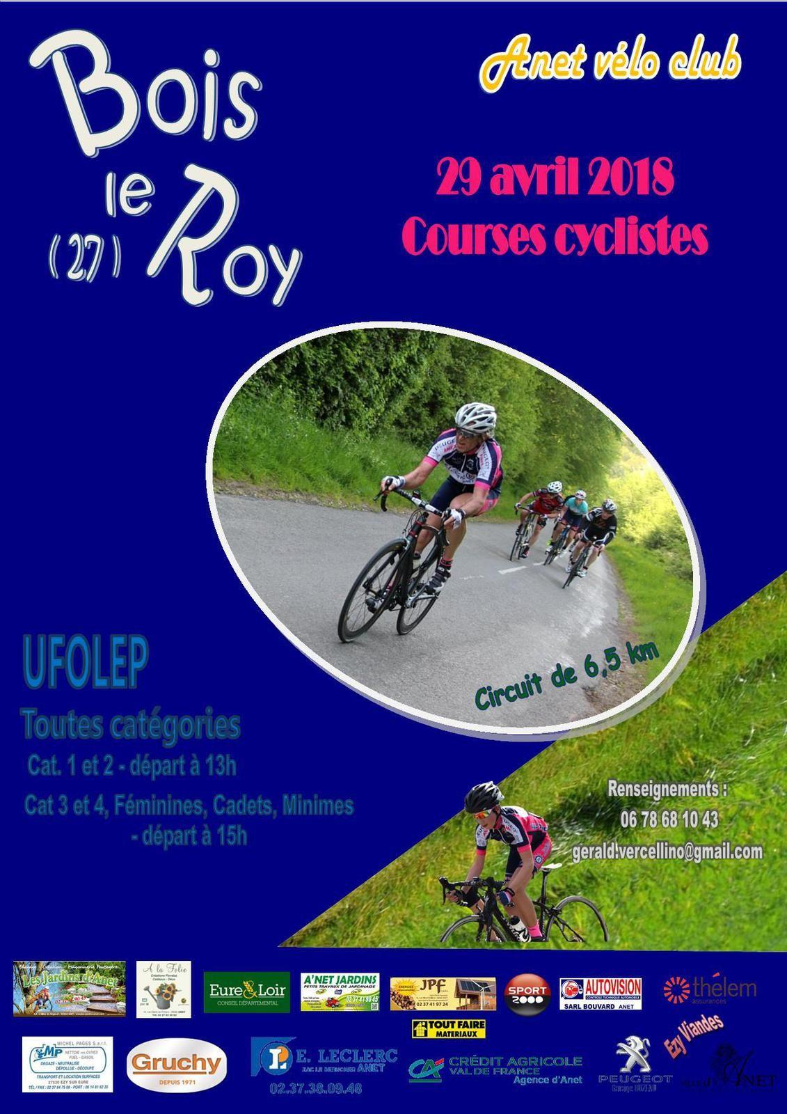 L'affiche de la course UFOLEP de Bois Le Roy (27) du dimanche 29 avril 2018