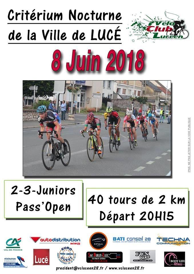 Critérium de la Ville de Lucé (28) en 2, 3, J et PC Open le vendredi 8 juin