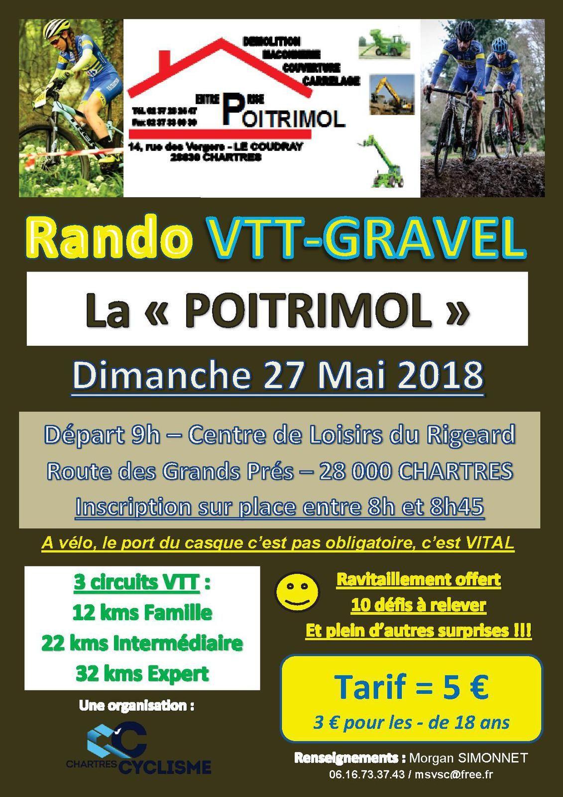 Randonnée VTT-GRAVEL  la Poitrimol le dimanche 27 mai à Chartres (28)