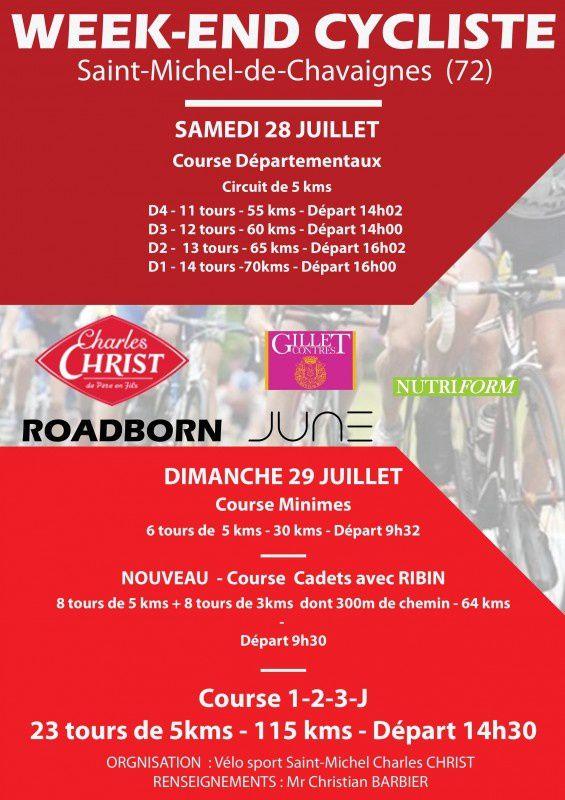 Week-end cycliste à Saint Michel de Chavaignes (72) les 28 et 29 juillet