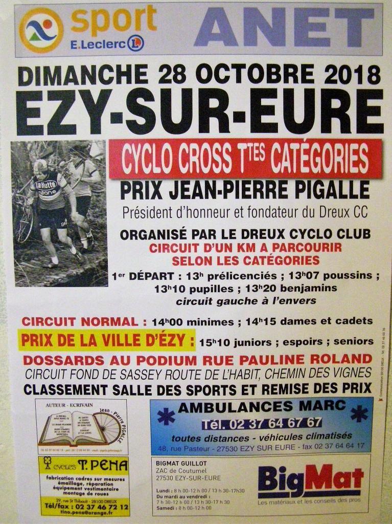Cyclo-cross d'Ezy sur Eure (27) : victoire d'Arthur Tropardy (USSA Pavilly B) en séniors et de Pirlouit Leberon (CS Mainvilliers) en juniors