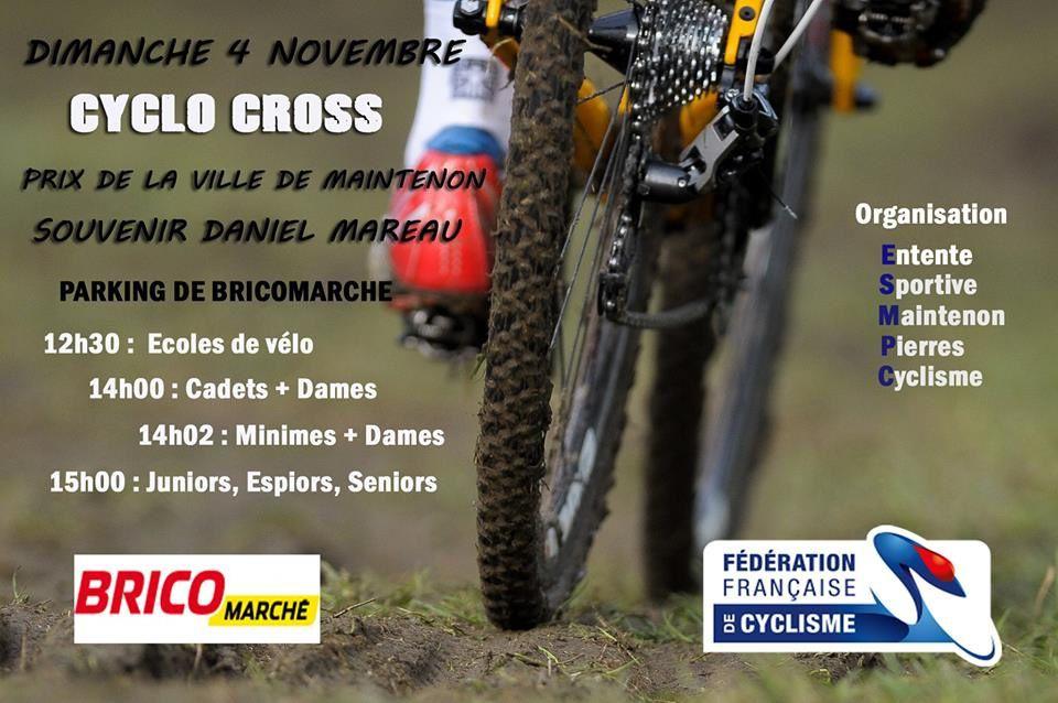 Cyclo-cross de Maintenon (28) ce dimanche 4 novembre dernière ligne droite pour les engagements