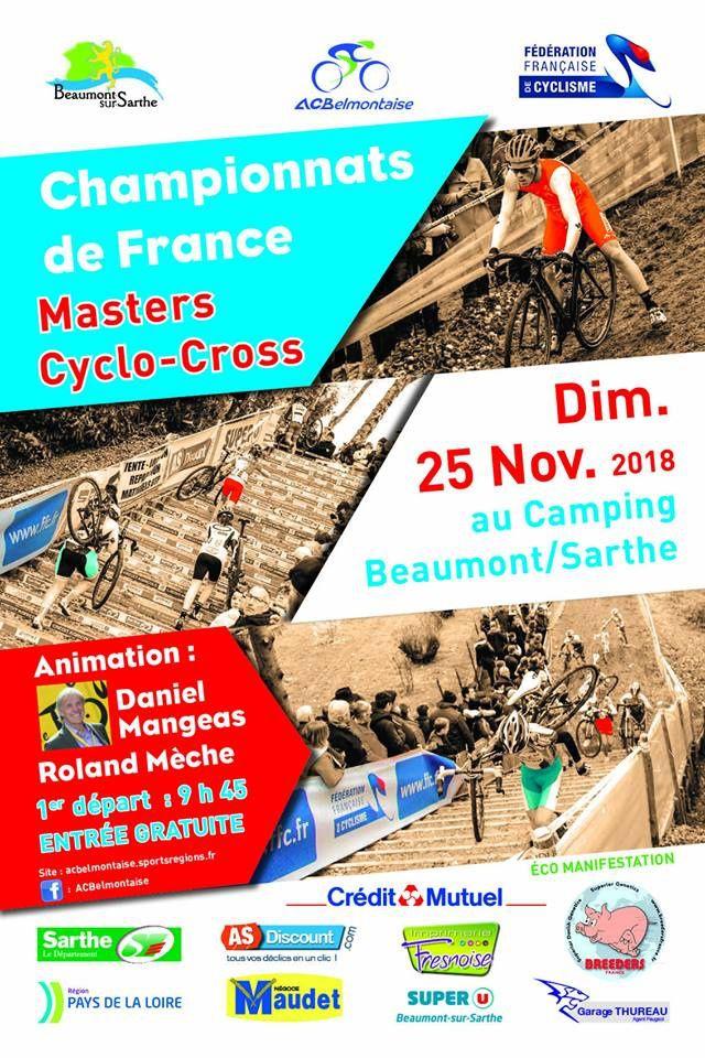 Championnat de France masters de cyclo-cross le dimanche 25 novembre à Beaumont sur Sarthe (72)
