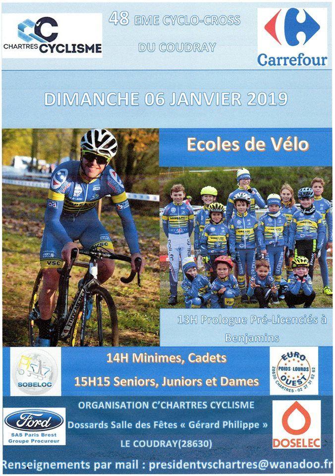 Les listes des 116 engagés au cyclo-cross du Coudray (28) avec un très beau plateau