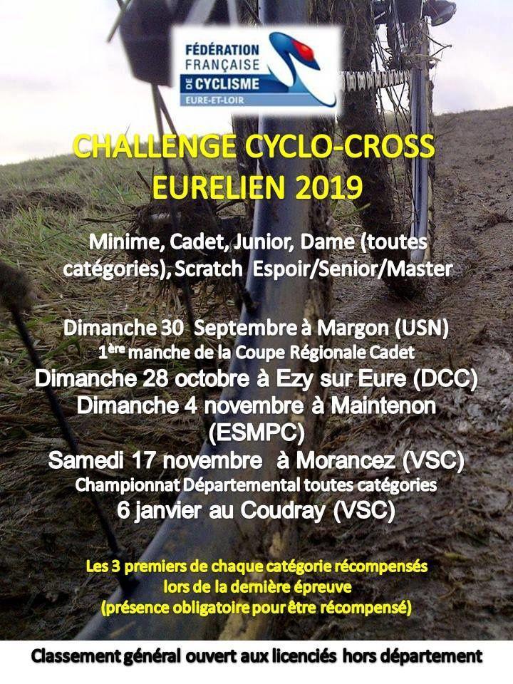 Les classements du Trophée Eurélien de cyclo-cross avant la finale du dimanche 6 janvier Au Coudray