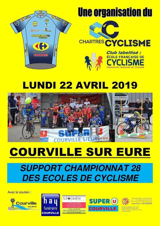 Le lundi 22 avril épreuve école de cyclisme à Courville sur Eure (28)