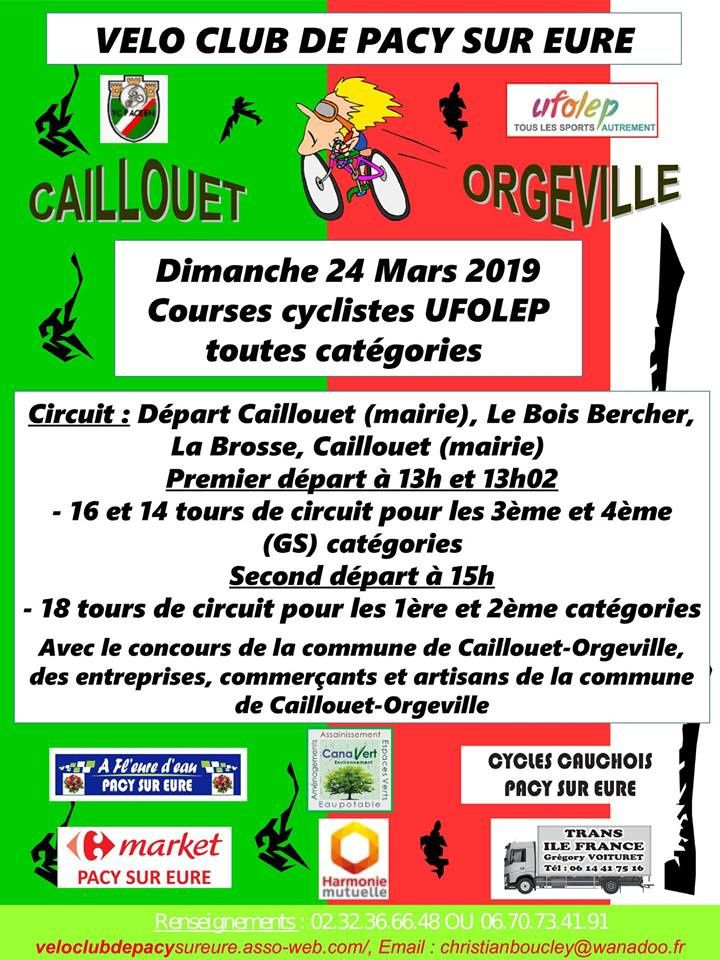 Course UFOLEP de Caillouet Orgeville (27) le 24 mars 2019