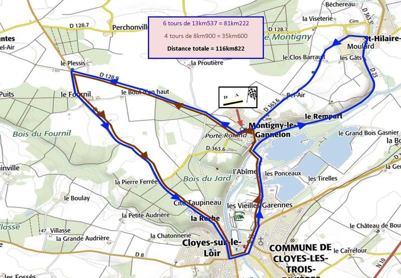 Affiche et circuit du Challenge cyclisme des Trois Rivières (28) en 2, 3, J et PC Open le dimanche 28 avril 2019 (support championnat 28 des 2, 3 et juniors)