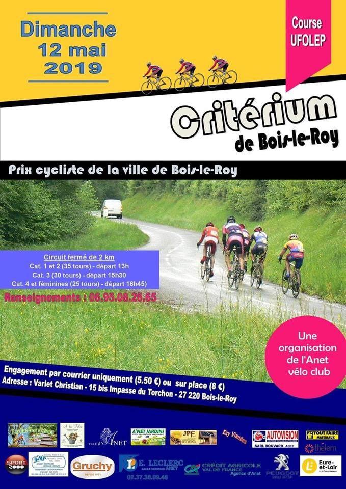 Annulation de la course UFOLEP de Bois le Roy (27) du 12 mai 2019