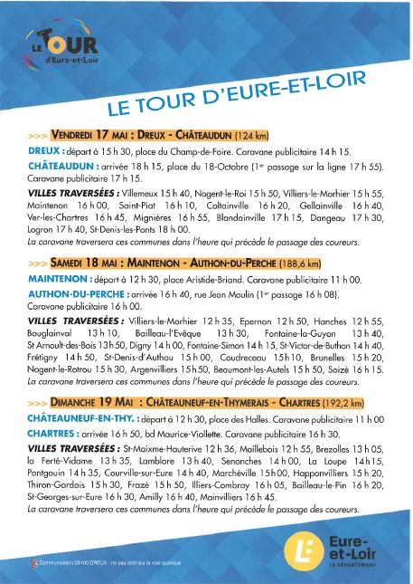 Tour d'Eure et Loir du 17 au 19 mai 2019 : les engagés
