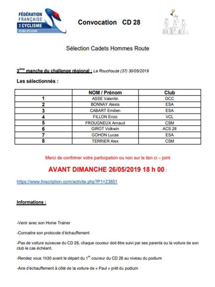Régional CLM à La Rouchouze (37) avec Victoire, Valentin et Mathéo dans la sélection du CD28