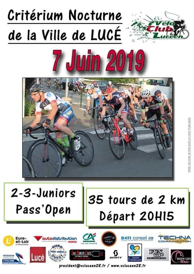 Critérium de la ville de Lucé (28) le vendredi 7 juin 2019 en 2, 3, J et PC Open