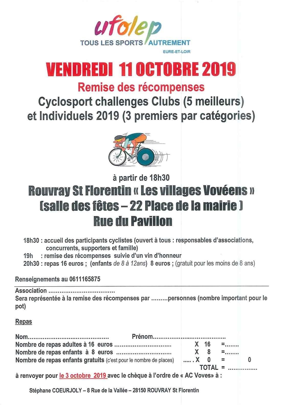 Course UFOLEP de Fontenay sur Conie (28) le samedi 28 septembre 2019 Finale du challenge UFOLEP 28 et TDC