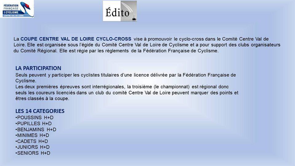 Coupe du Centre Val de Loire de cyclo-cross le règlement et les engagés de la première manche du 5 octobre à Chambray les Tours (37)