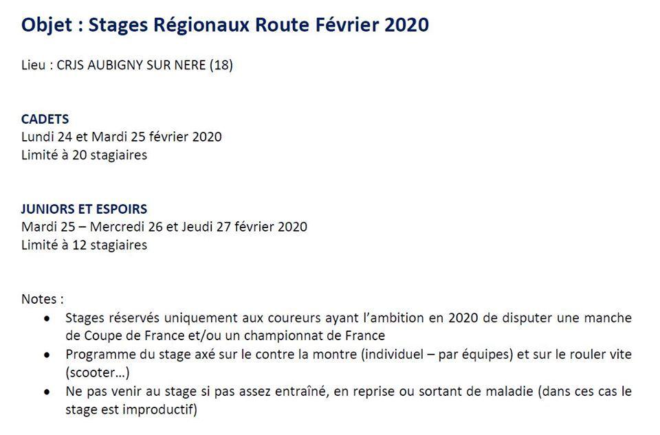 Stage Régional route Cadets, Juniors et Espoirs