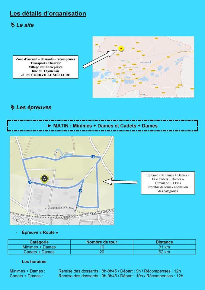 Courses pour école de cyclisme, minimes et cadets le lundi 13 avril 2020 à Courville S/Eure (28)