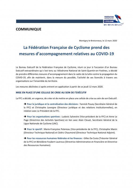 La FFC a communiqué des mesures d'accompagnement relatives au COVID-19