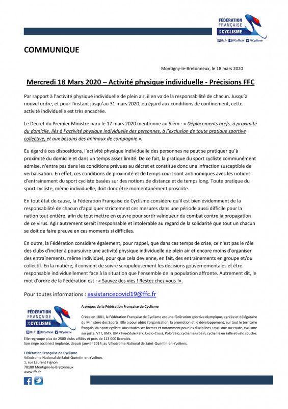 Communiqué de presse de la FFC et du Ministère des Sports