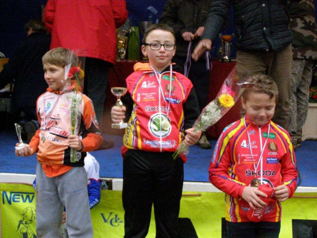 Mathéo Noel champion d'Eure et Loir pupilles de cyclo-cross le 10 janvier 2016 à Illiers Combray