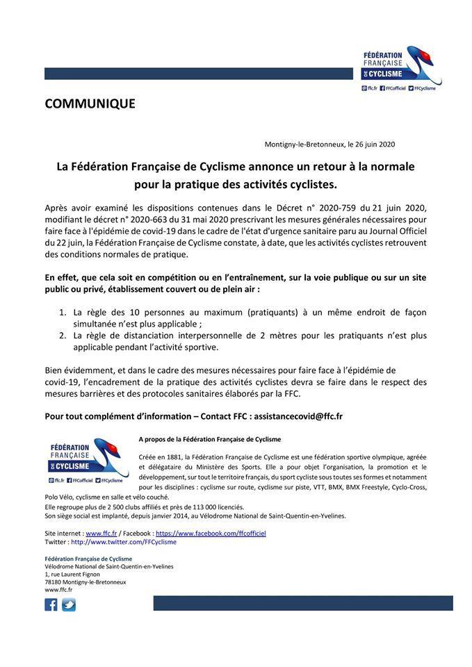 Communiqué FFC : pour le retour à la normale pour la pratique des activités cyclistes