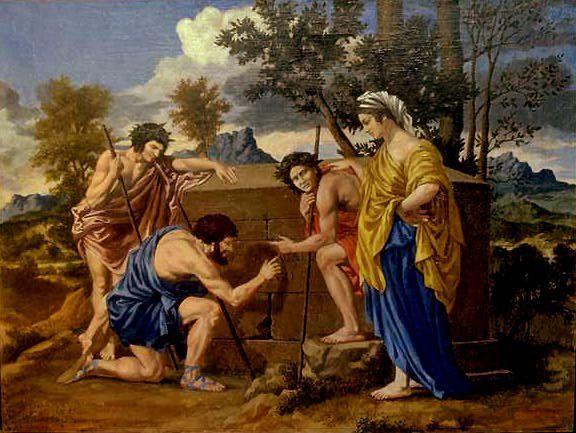 Détail d'un tableau de Nicolas Poussin exposé au Louvre (Paris).