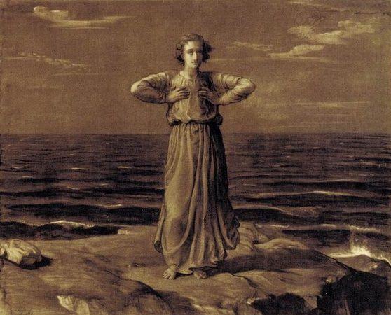 Détail d'une œuvre de Louis Janmot intitulée L'Infini (1861), fusain et rehauts de gouache blanche sur papier, 115 x 147. Cette œuvre a été reproduite p.65 du livre de Louis Janmot intitulé Le Poème de l'âme, E. Hardouin-Fugier, La Taillanderie, 2007.