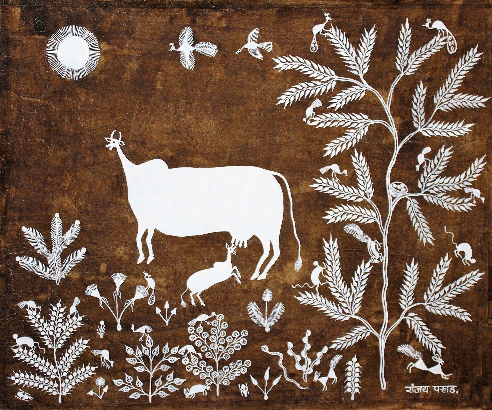 Vache et son veau, de Sanjay Parhad 60x40,  bouse, résine et acrylique sur coton