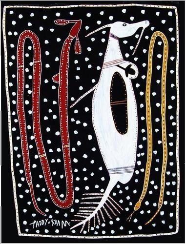 Paddy Fordham Wainburranga, l'un des seuls artistes aborigènes à signer ses toiles au recto.