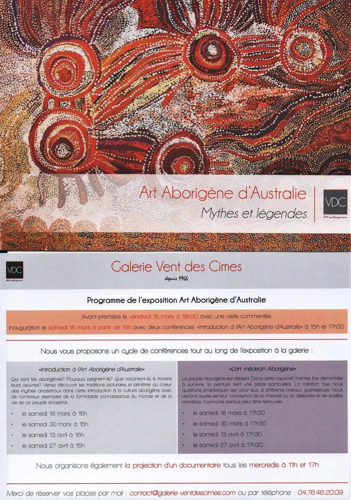 Sagesse, mythes et légendes, art aborigène à Grenoble, programme de l'expo (15 mars- 4 mai 2019)