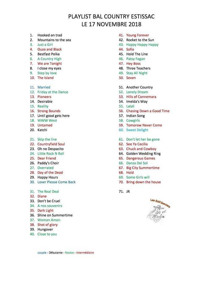Playlist ESTISSAC 17 Novembre