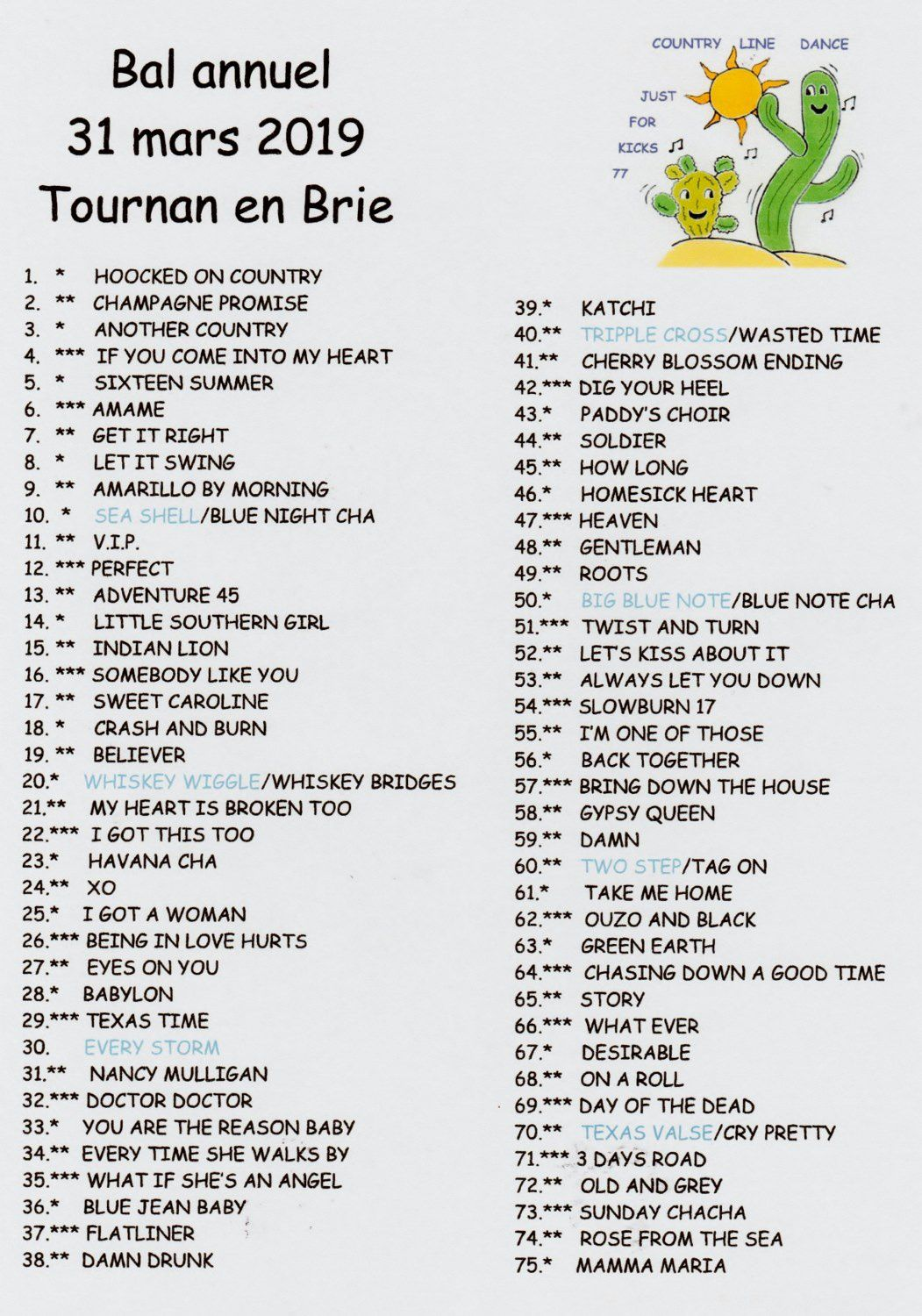 PLAYLIST TOURNAN EN BRIE 31 MARS