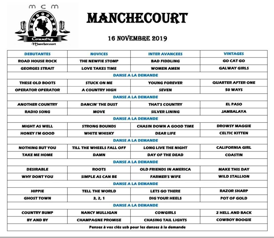 Playlist MANCHECOURT 16 NOVEMBRE