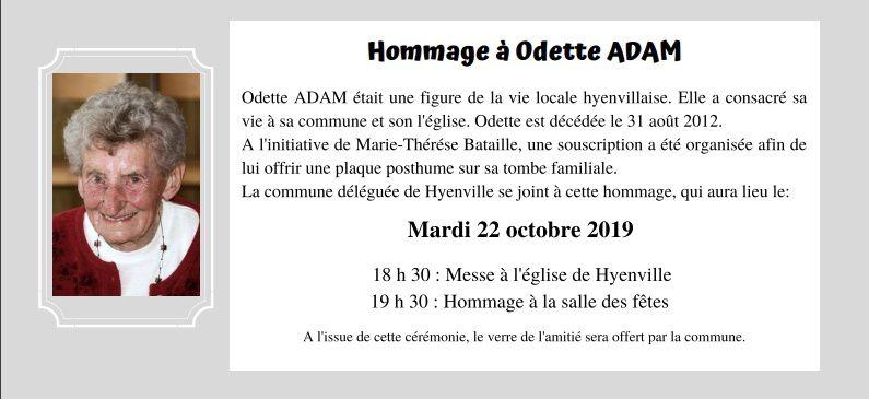 HOMMAGE À Odette ADAM