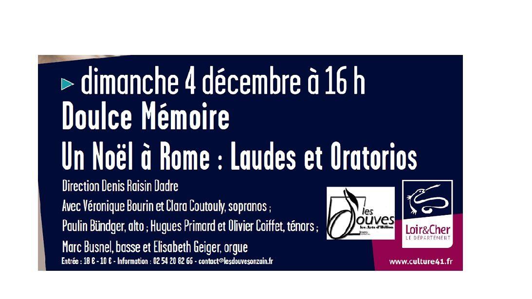 CONCERT - Dimanche 4 décembre à 16h à l'église de Chaumont-sur-Loire - CONCERT de musique sacrée - Doulce Mémoire - Un Noël à Rome: Laudes et Oratorios