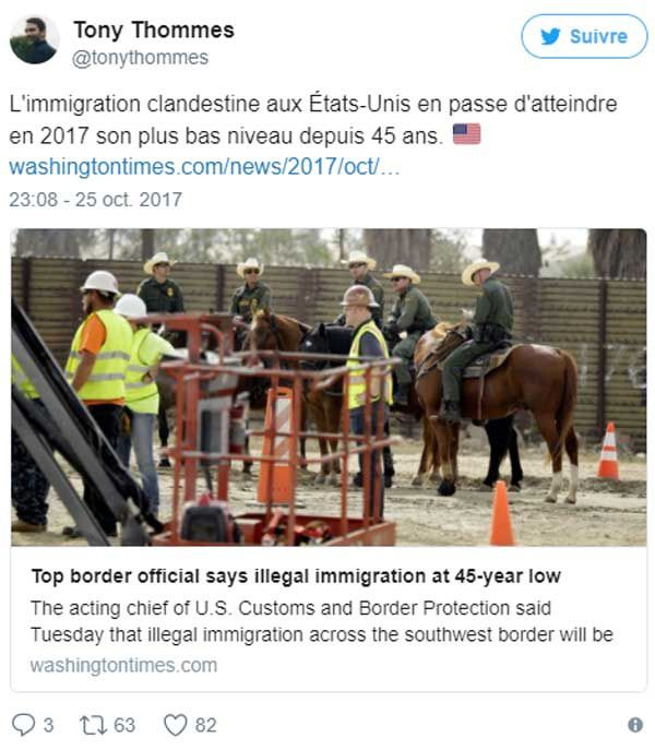 L'immigration clandestine aux États-Unis en passe d'atteindre en 2017 son plus bas niveau en 45 ans