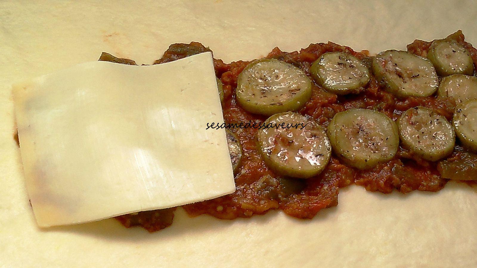 Tresse farcie aux légumes et fromage
