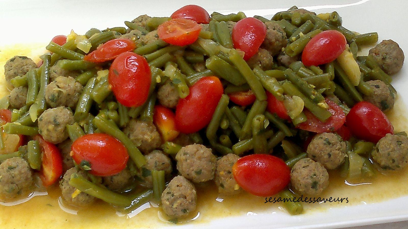 Tajine de haricots verts aux boulettes de viande