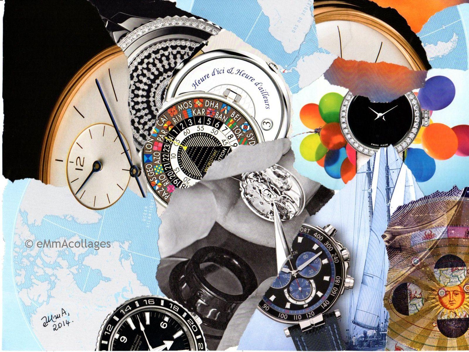 """Collage eMmA MessanA, pièce unique, """"Tant de temps"""" © eMmA MessanA"""