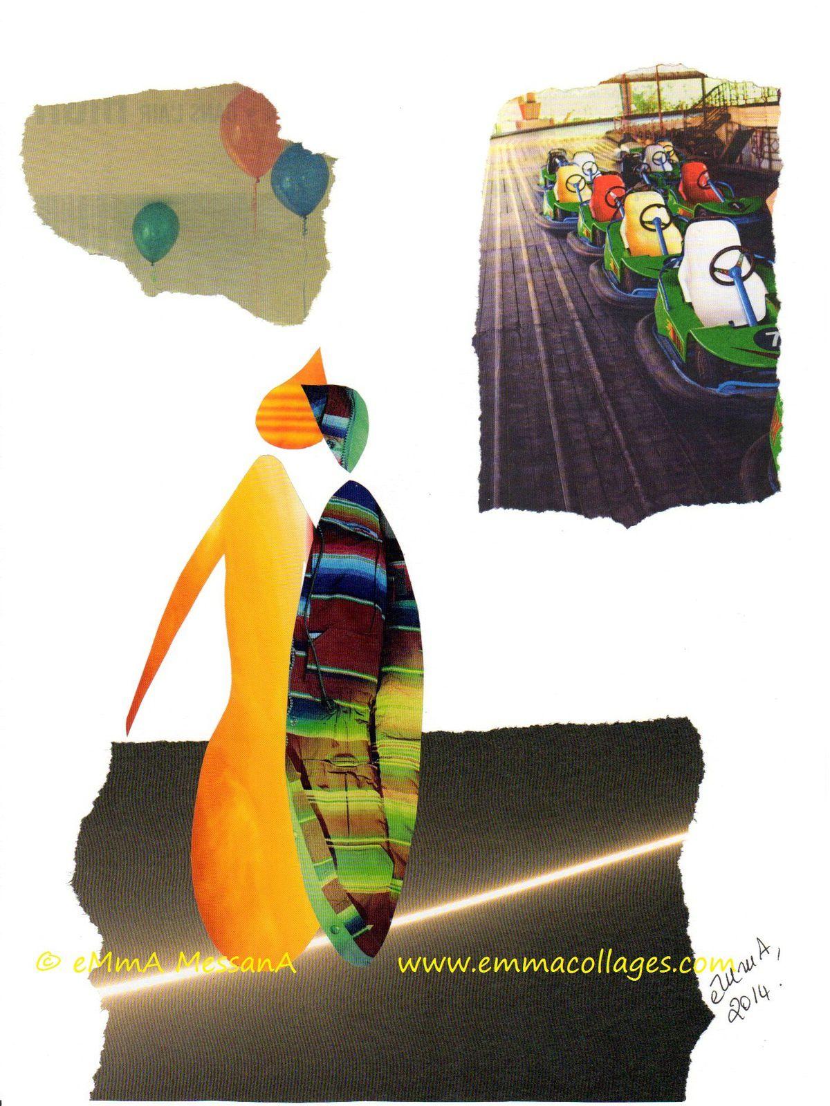 """Les Collages d'eMmA MessanA, collage """"Collé-serré"""", pièce unique © eMmA MessanA"""