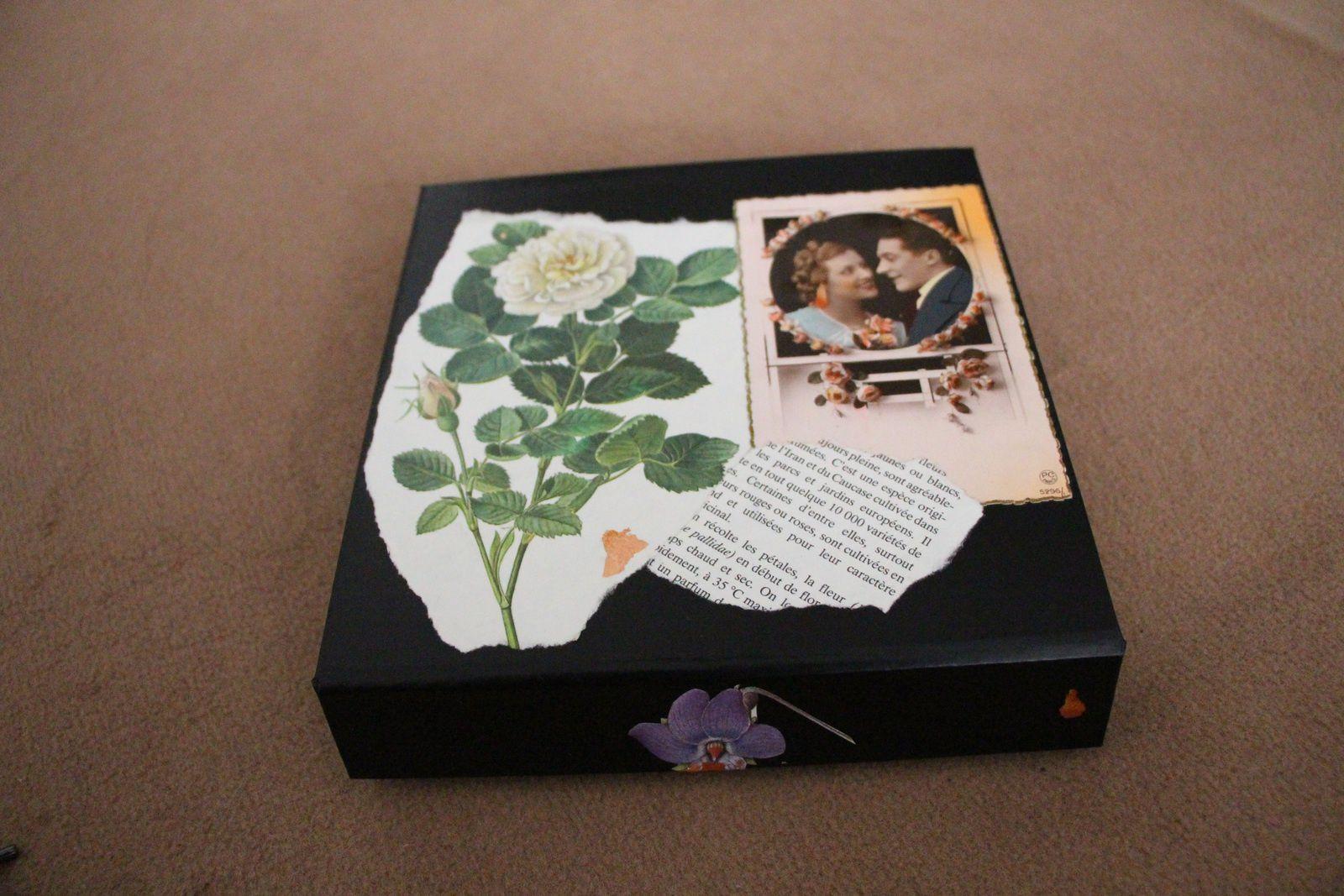 """Les Collages d'eMmA MessanA, collage sur boîte """"Vintage"""". Pièce unique © eMmA MessanA"""